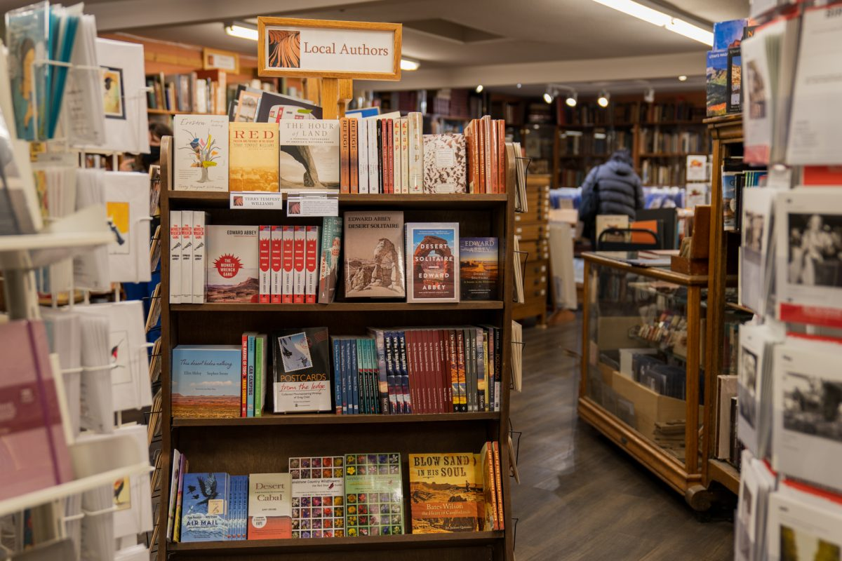 A local authors book display in the Back of Beyond Books located in Moab, Utah.