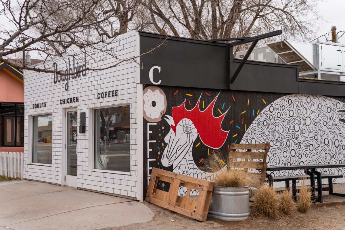 The storefront of Doughbird in Moab. Utah.