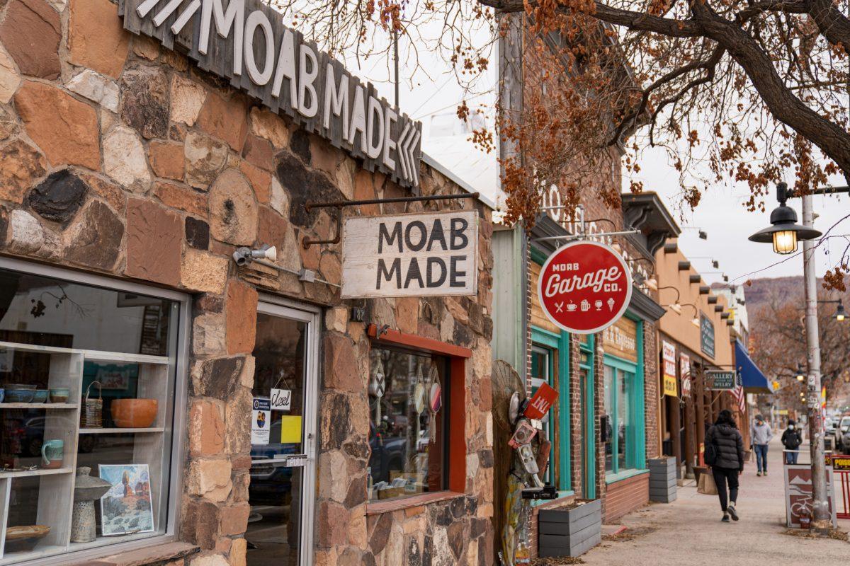Downtown shops in Moab, Utah.