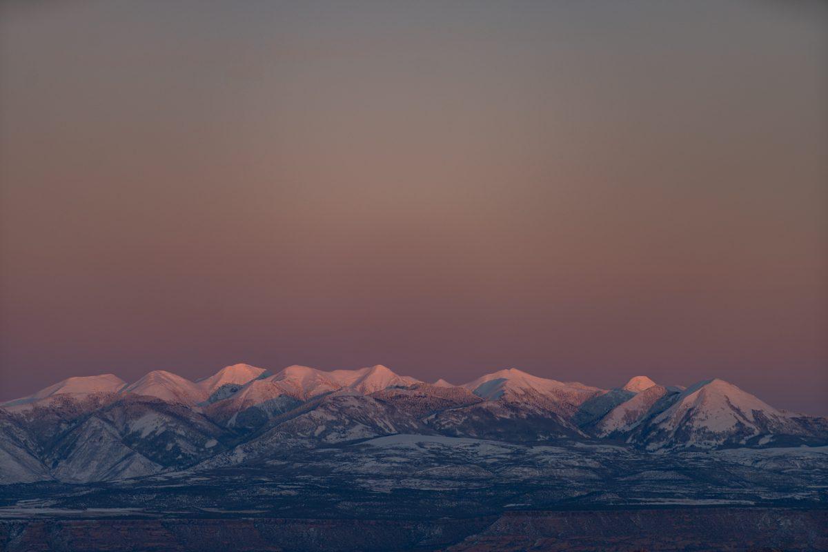The La Sal Mountains near Moab, Utah, during sunset.
