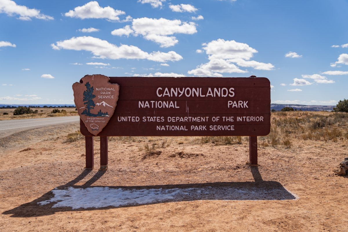 The sign of Canyonlands National Park near Moab, Utah.