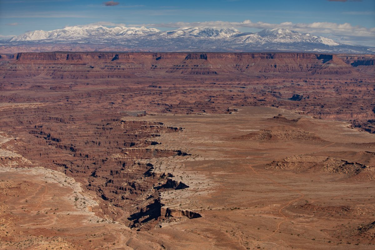 The view from Grand View Point at Canyonlands National Park near Moab, Utah.