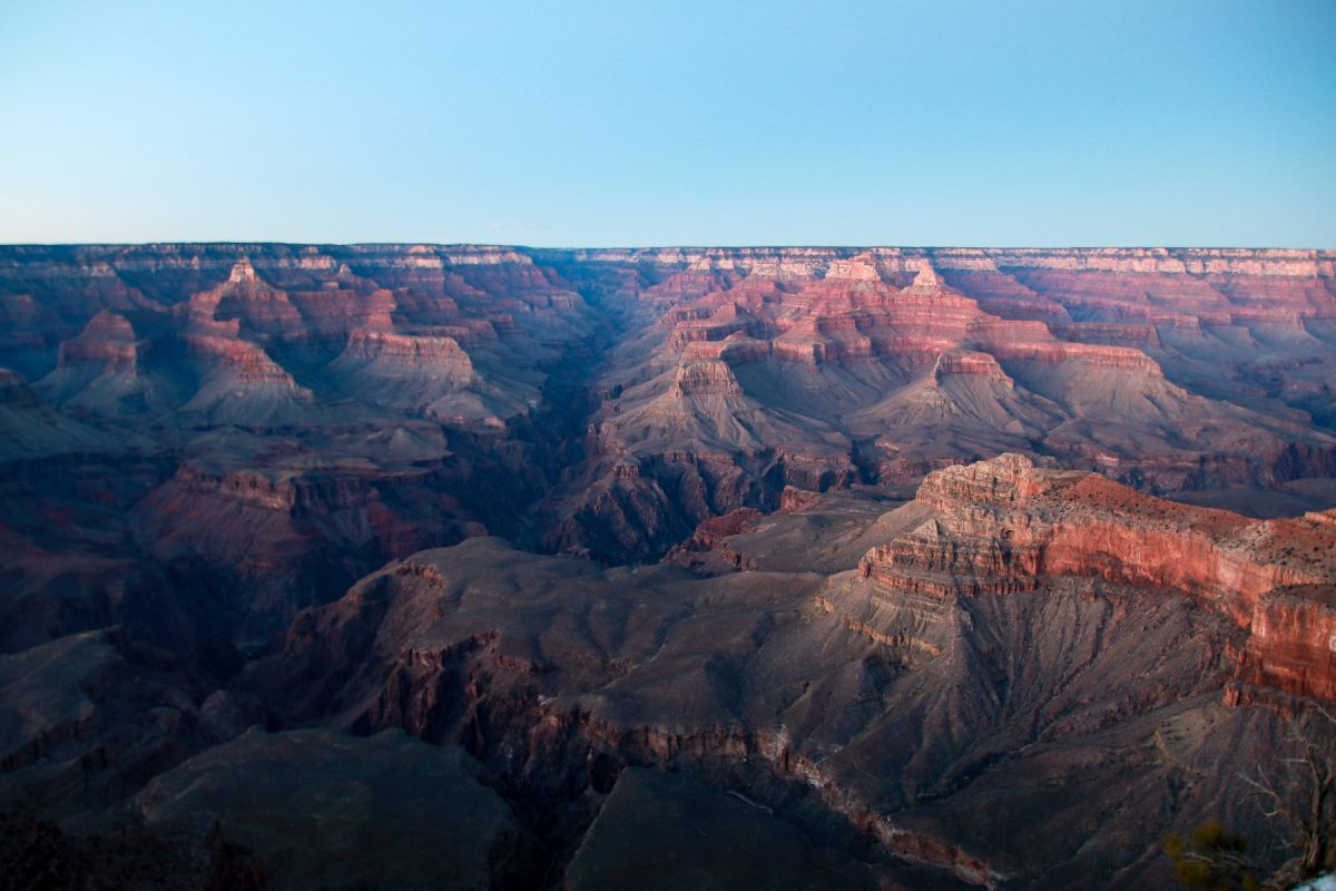 The Grand Canyon as seen from the South Rim at Grand Canyon National Park in Arizona.