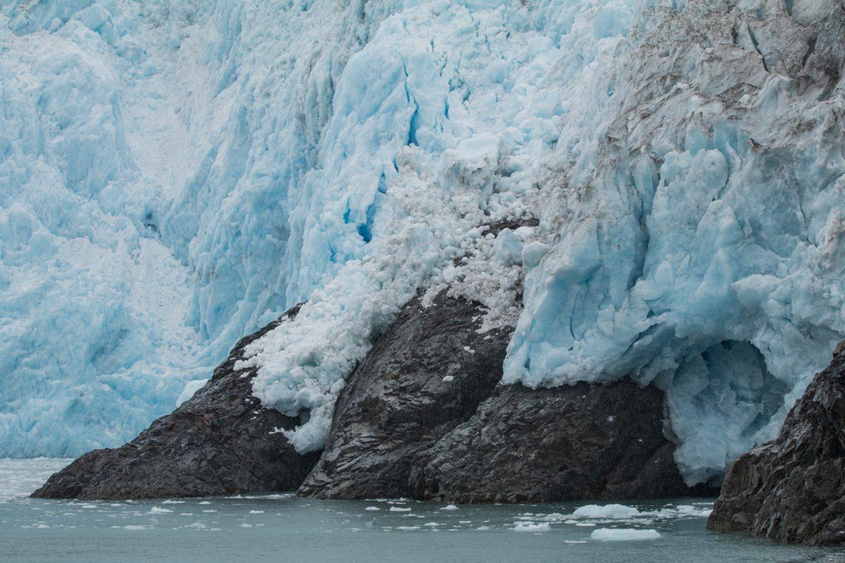 Blue glacier ice in Kenai Fjords National Park in Alaska.