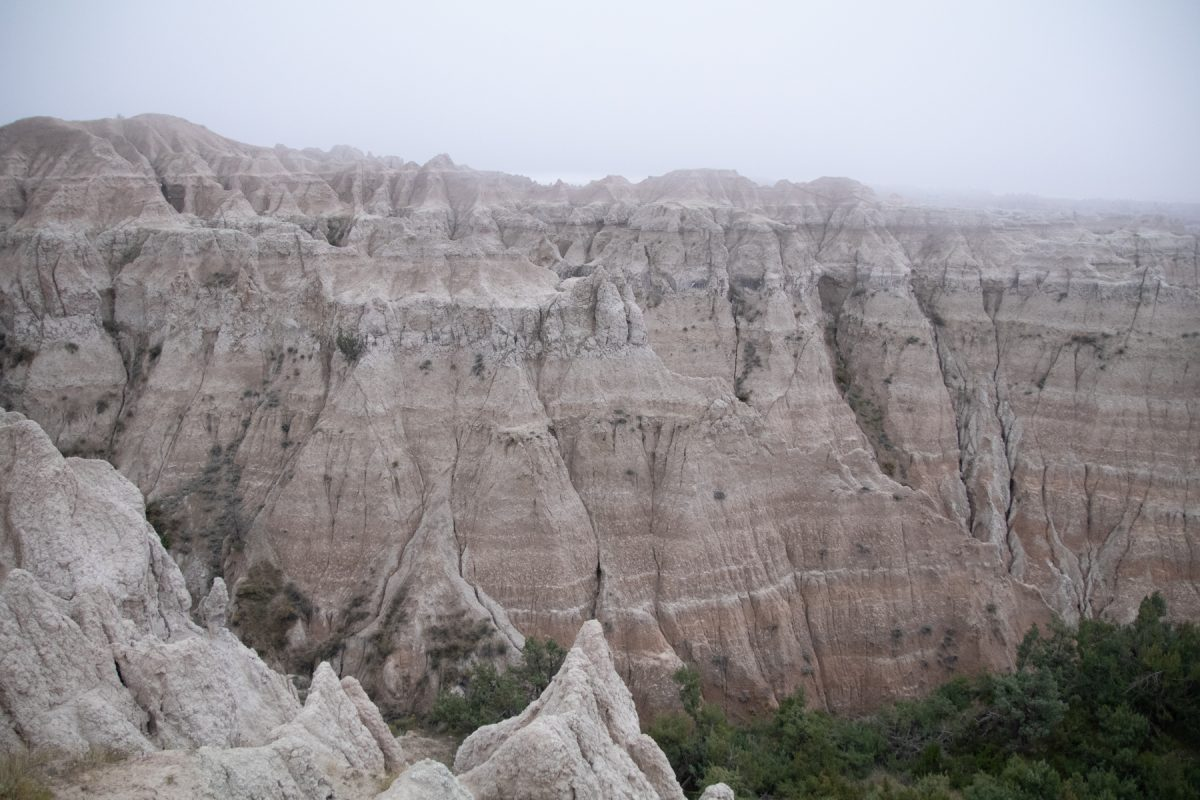 A cloudy day at Badlands National Park in South Dakota.