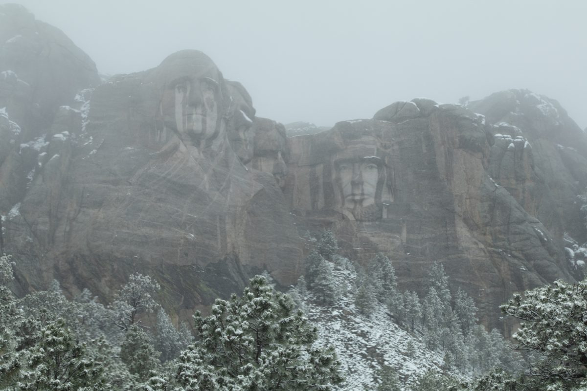 Snow melts on the heads of the presidents at Mount Rushmore National Memorial in South Dakota.