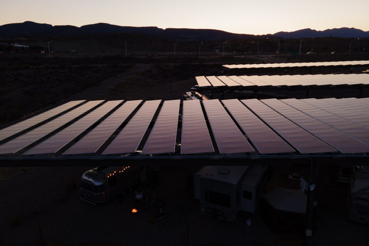 The sun goes down on solar panels at Verde Ranch RV Resort in Camp Verde, Arizona.