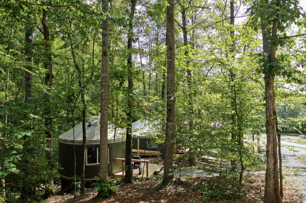 Glamping yurt in the woods at Emberglow Outdoor Resort