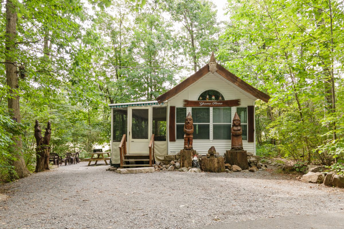 Gnome Home cabin in the woods at Lake in Wood RV Resort