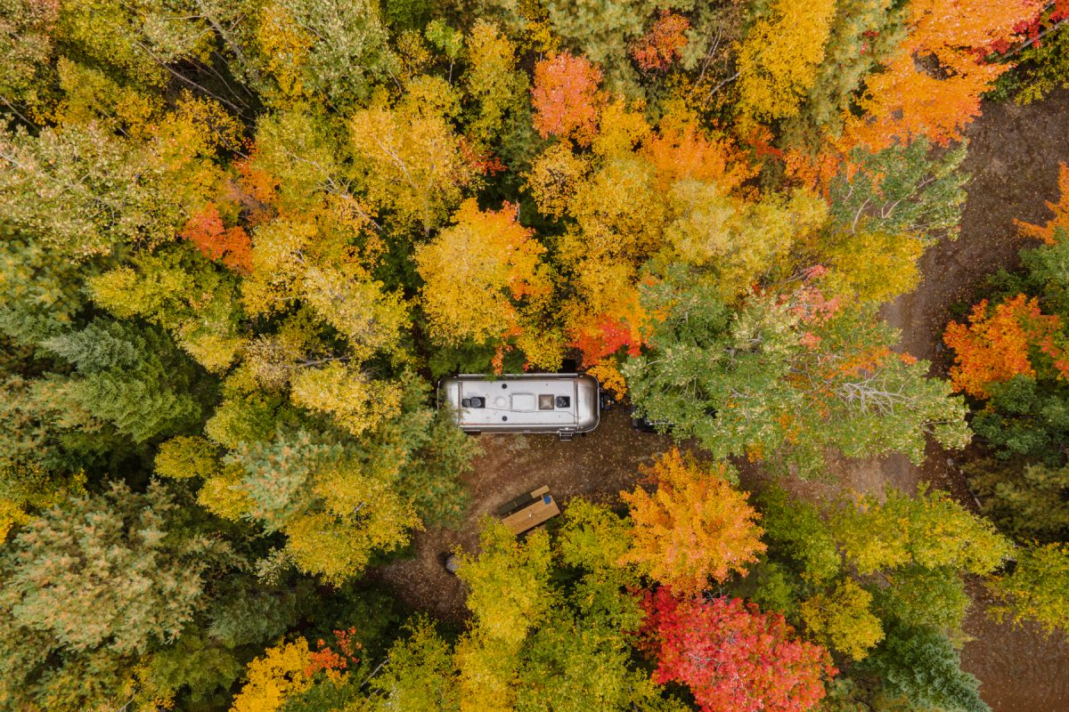 Ariel photo of an Airstream RV in the woods during the fall at Wild Fox Cabins & Campground