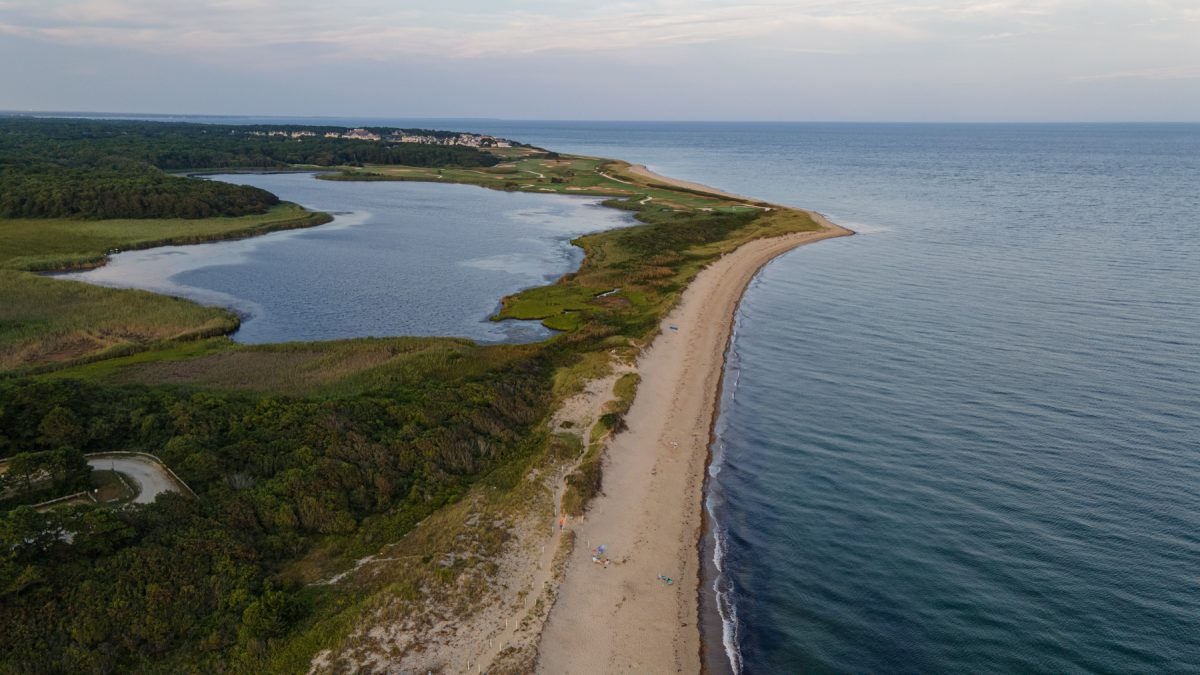 An aerial view of the Cape Cod National Seashore in Massachusetts.