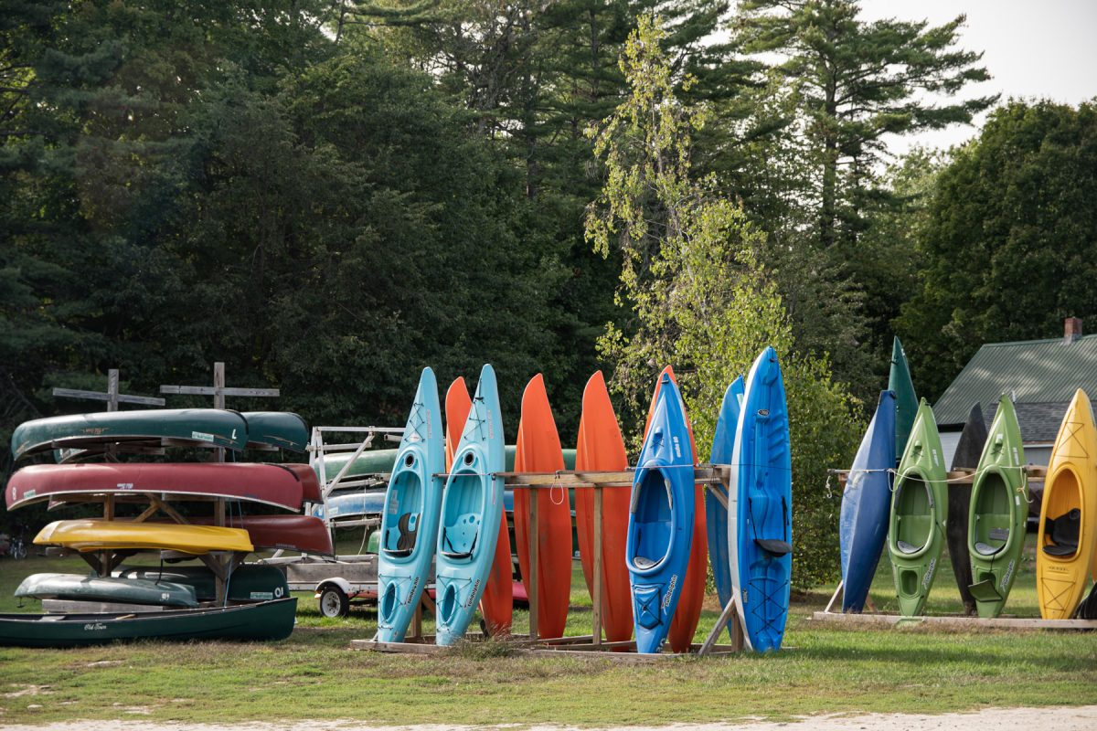 Different canoes and kayaks available to rent at the On The Saco Family Campground in Brownfield, Maine.