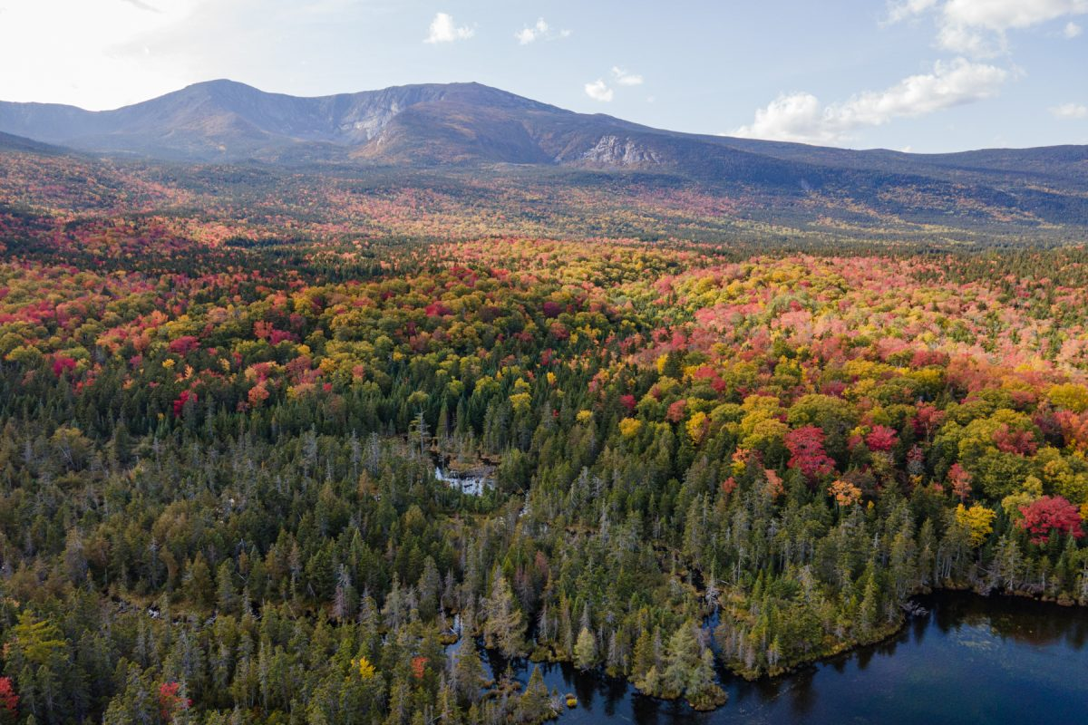 An aerial view of Mt. Katahdin in northern Maine.