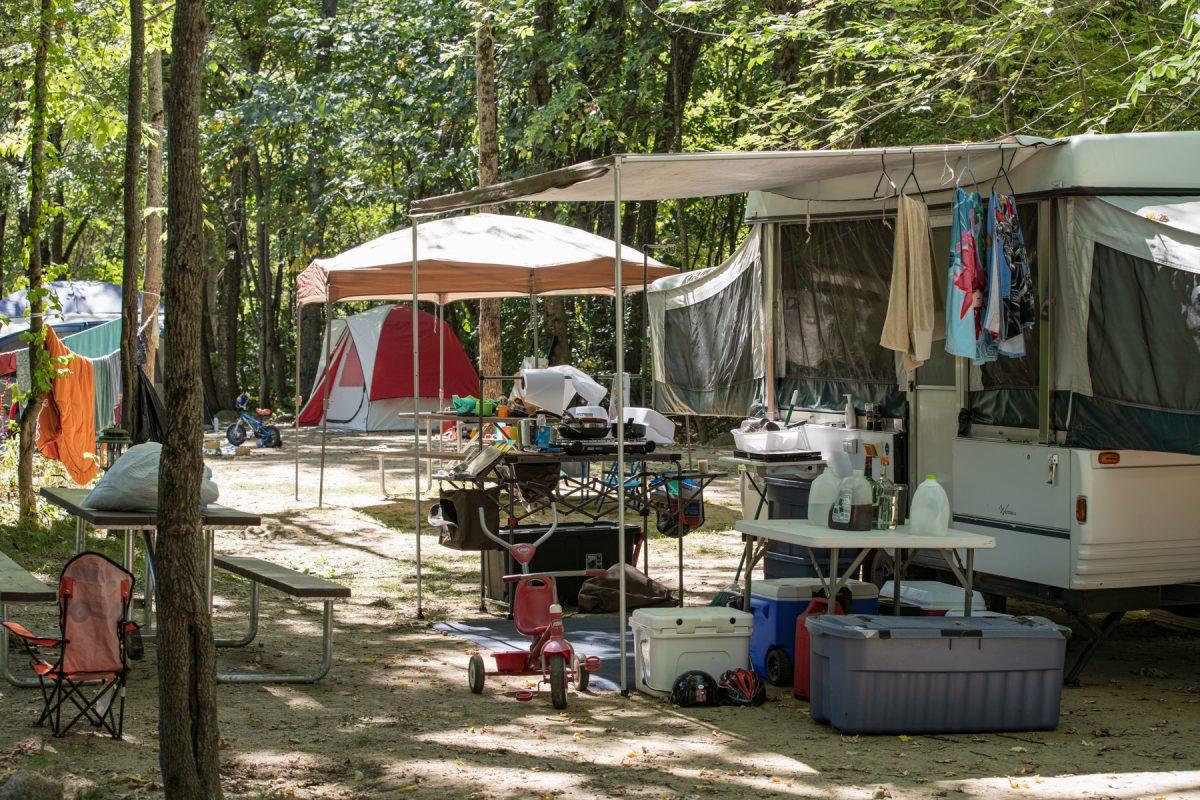 A pop up camper set up at the Yogi Bear Camp Resort: Glen Ellis in Glen Ellis, New Hampshire.