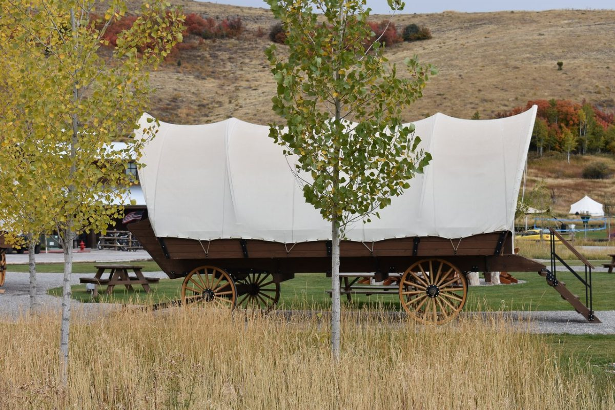 Glamping at River Run RV Resort in a covered wagon