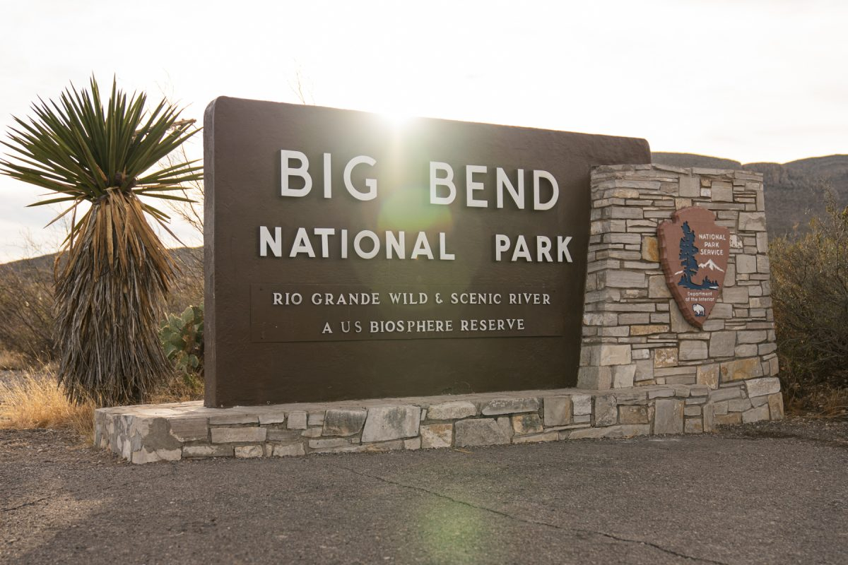 The sign of Big Bend National Park in Southern Texas.