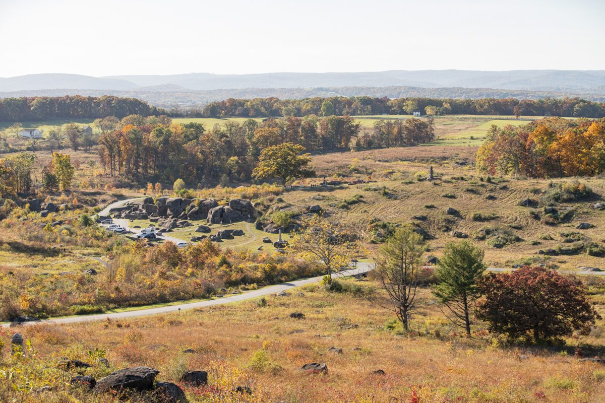 An outlook of a battlefield at Gettysburg NationalMilitary Park in Pennsylvania.
