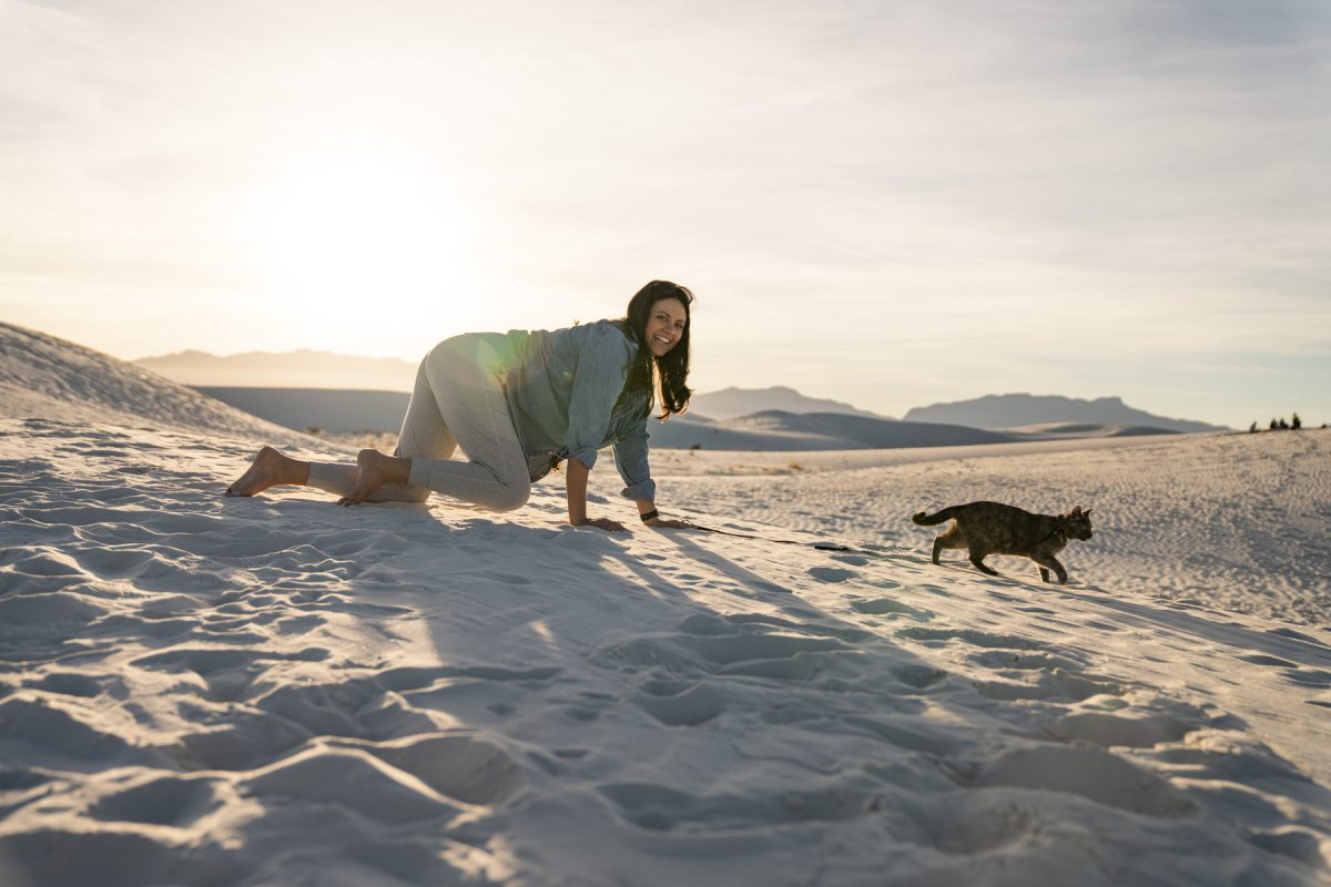 A woman climbs after a cat at White Sands National Park in New Mexico.