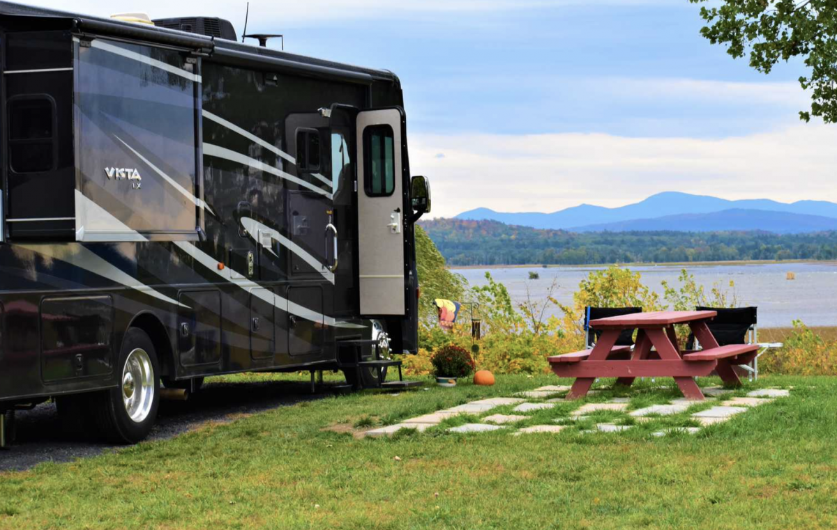 RV parked on the river at Apple Island Resort.