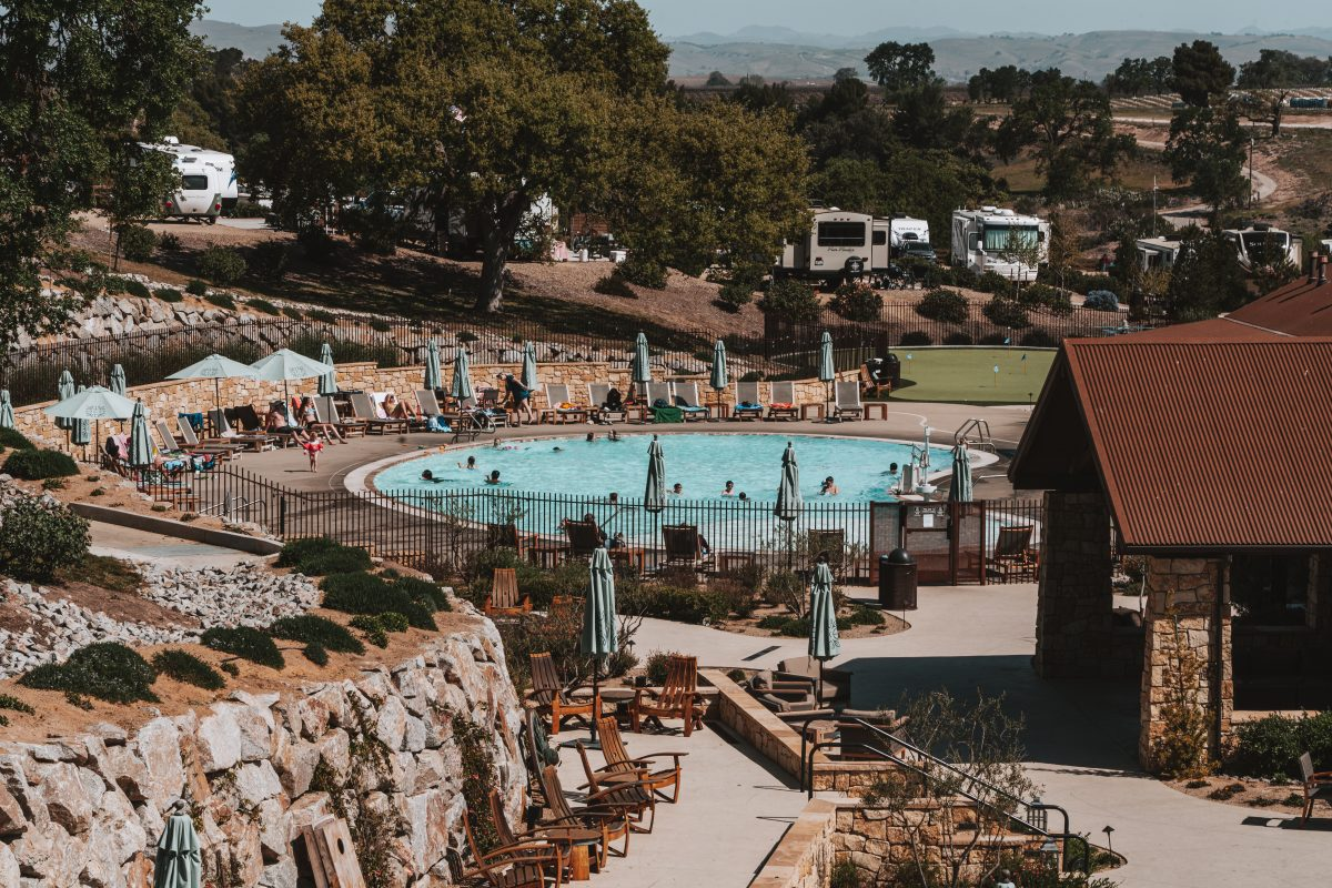 Pool area at Cava Robles RV Resort