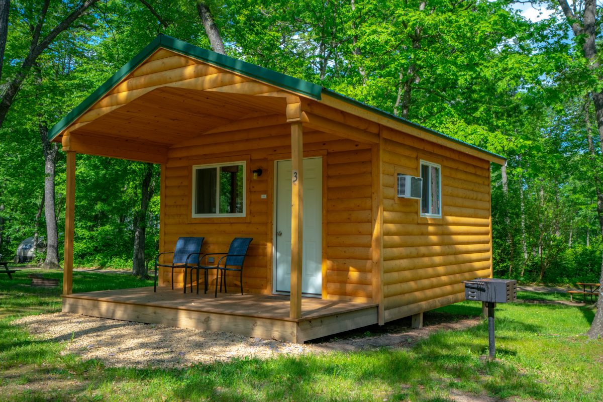 Cabin in the woods at Fox Hill RV Park & Campground.