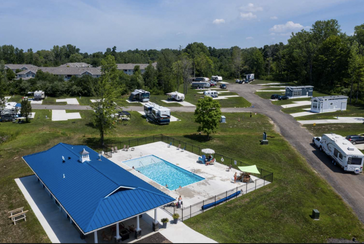 Pool area with RV sites at Hidden Ponds RV Resort
