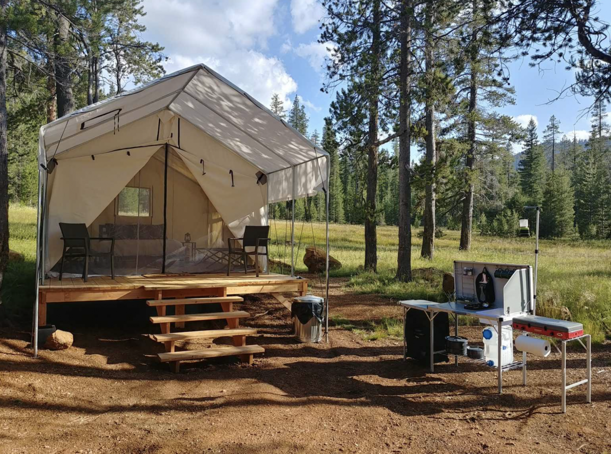Tent rental at Out Livin' in Mount Shasta, CA.