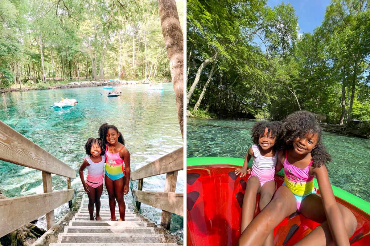 Hambrick girls on a raft in Ginnie Springs