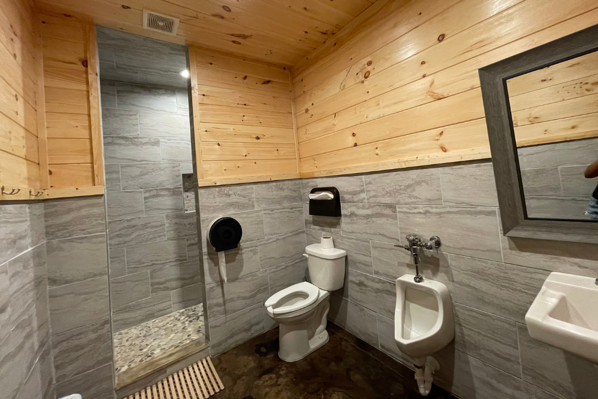 Family bathrooms with shower at Moonshine Acres RV Park