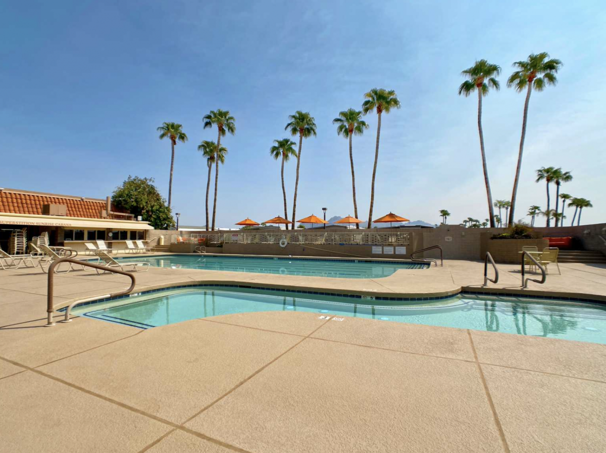 Pool area with palm trees in the background.