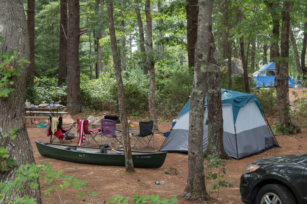 A tent sits at a campsite with a canoe and camping chairs nearby. The campsite is surrounded by trees.