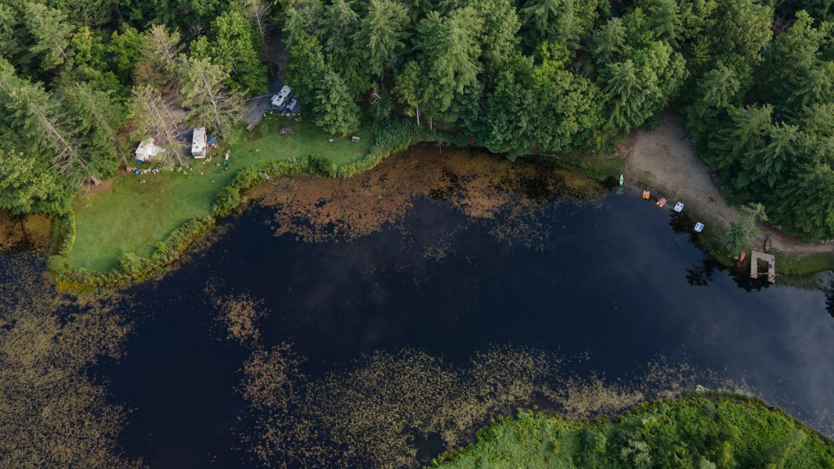An aerial view of a pond at the Saratoga Escape Campground in upstate New York.