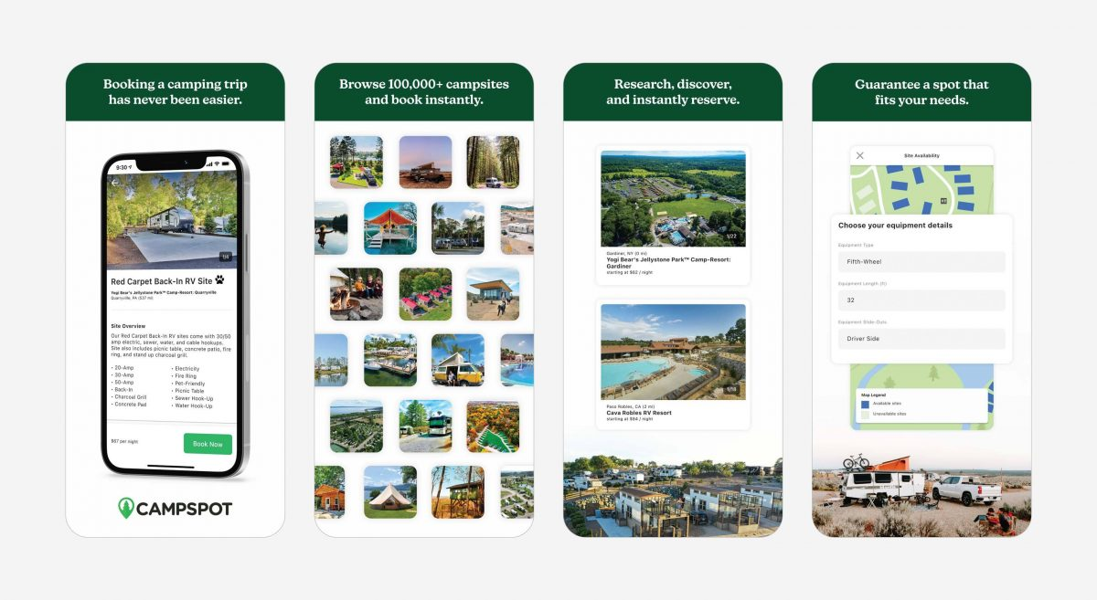 Preview images of the Campspot Mobile app.