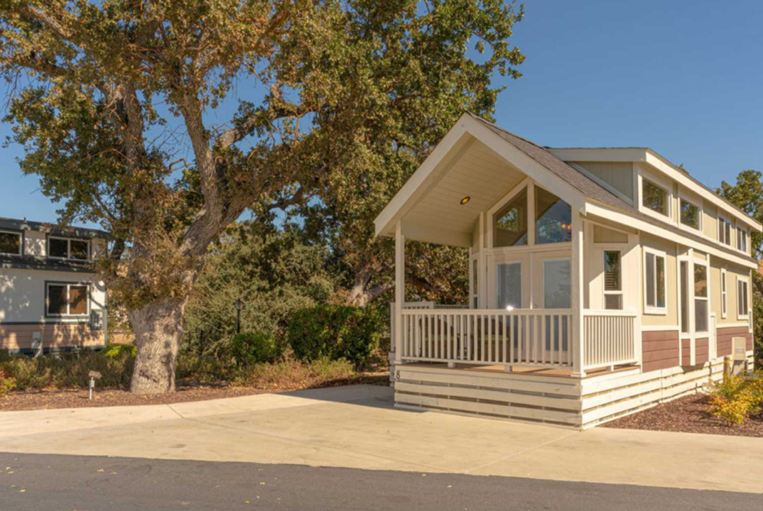 A cabin rental at the Wine Country RV Resort in Paso Robles, California.