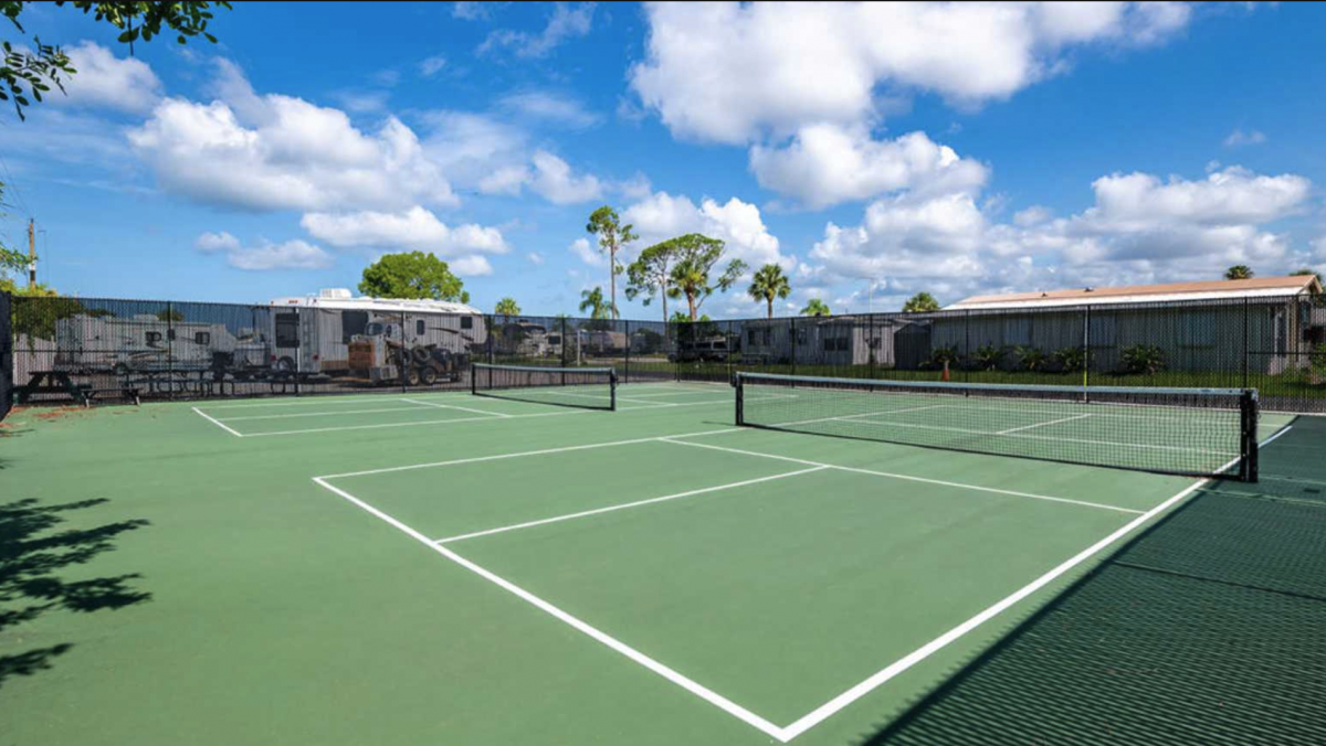 The pickleball courts at Lake San Marino RV Resort (55+) Naples, Florida