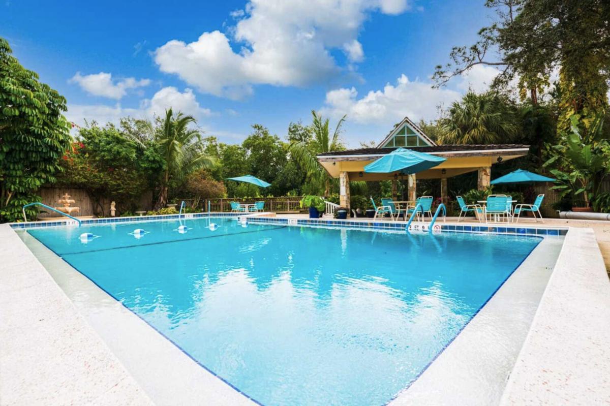 The pool area of Rock Creek RV Resort (55+) in Naples, Florida