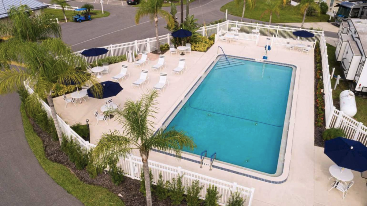The pool area of Kissimmee South RV Resort (55+) in Davenport, Florida