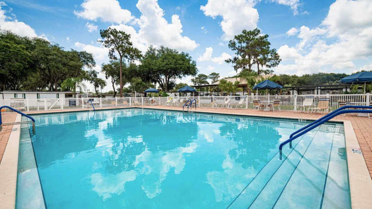 The pool area of Sweetwater RV Resort (55+) in Zephyrhills, Florida