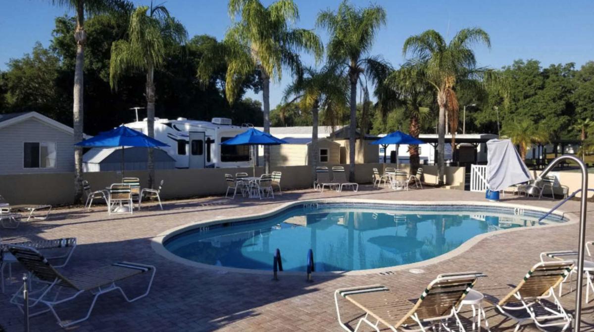 The pool area of Glen Haven RV Resort (55+) in Zephyrhills, Florida