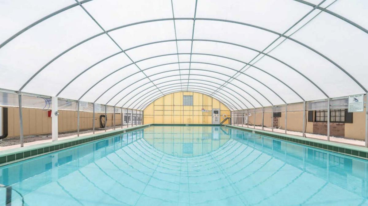 The pool at Rainbow Village of Zephyrhills RV Resort (55+) in Zephyrhills, Florida