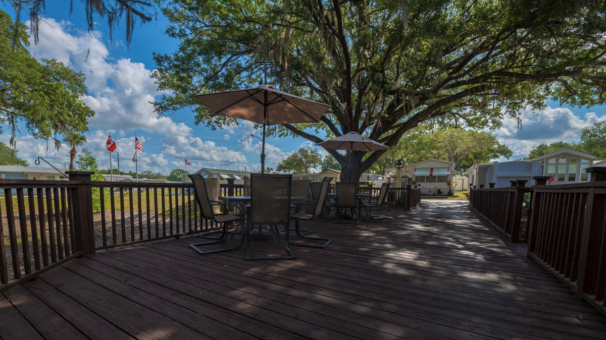 Relaxation area under the Spanish Moss trees at Waters Edge RV Resort (55+) in Zephyrhills, Florida