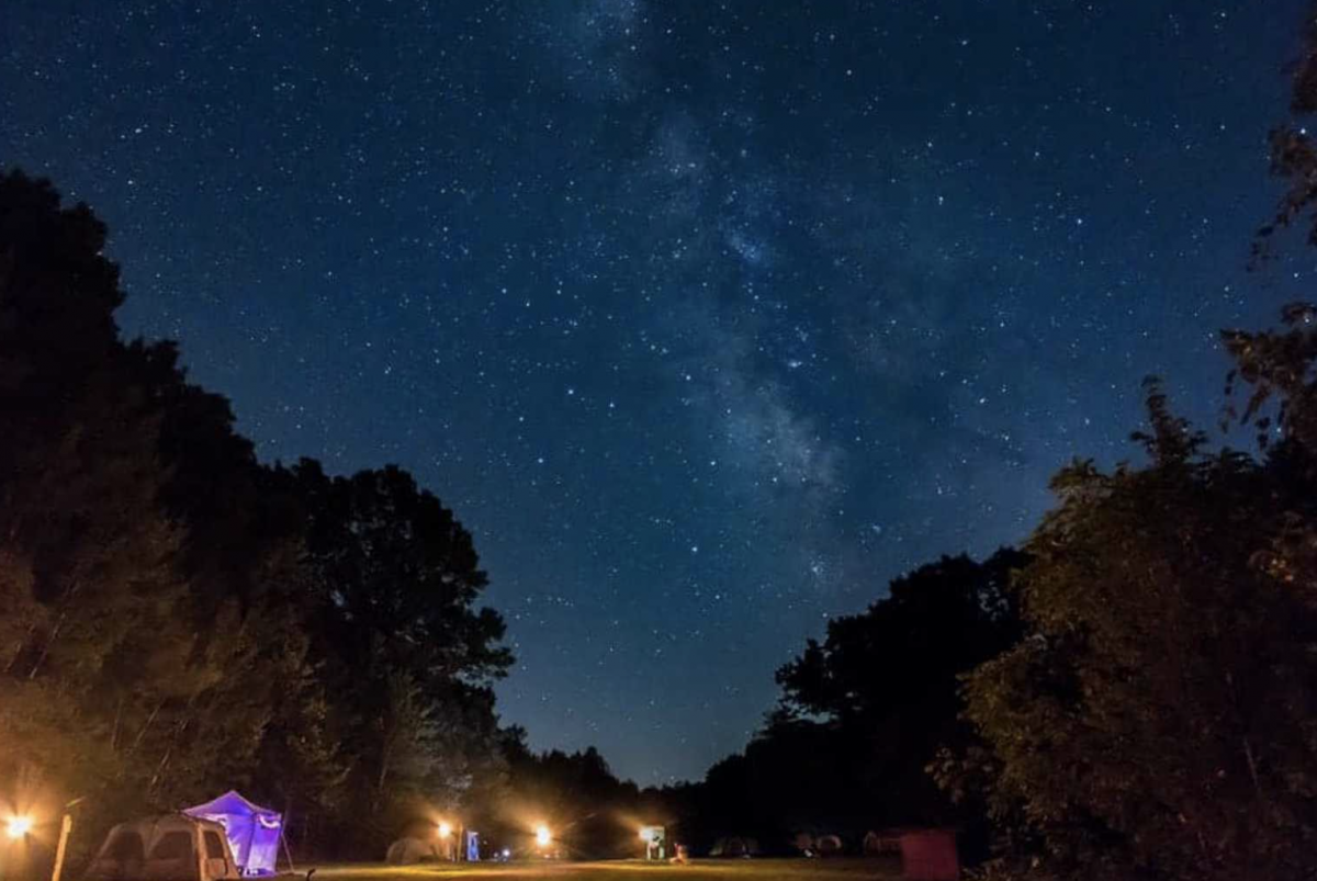 Stary night sky with tents at campground