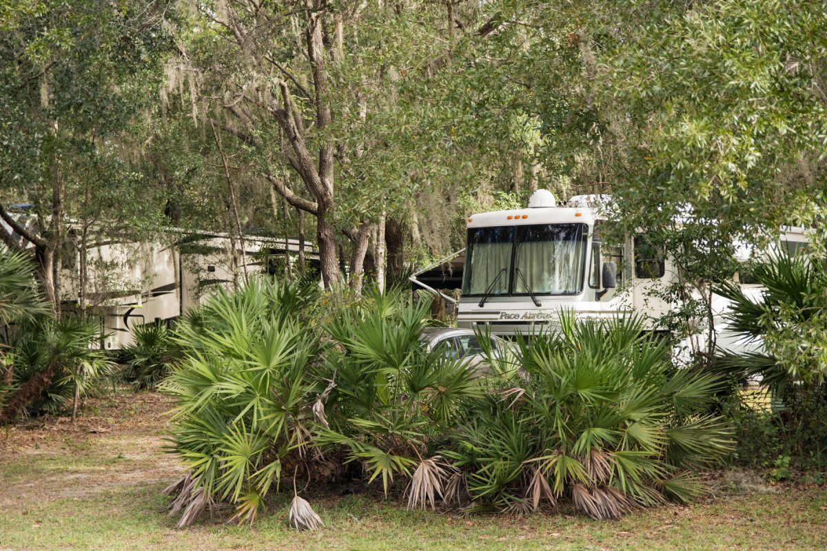 RV site at Rock Crusher Canyon RV Resort in Crystal River, Florida