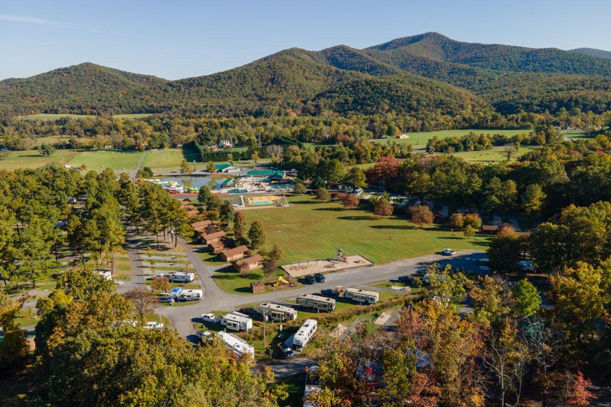 Yogi Bear's Jellystone Park Camp-Resort: Luray in Luray, Virginia surrounded by the fall foliage and Shenandoah Mountains.
