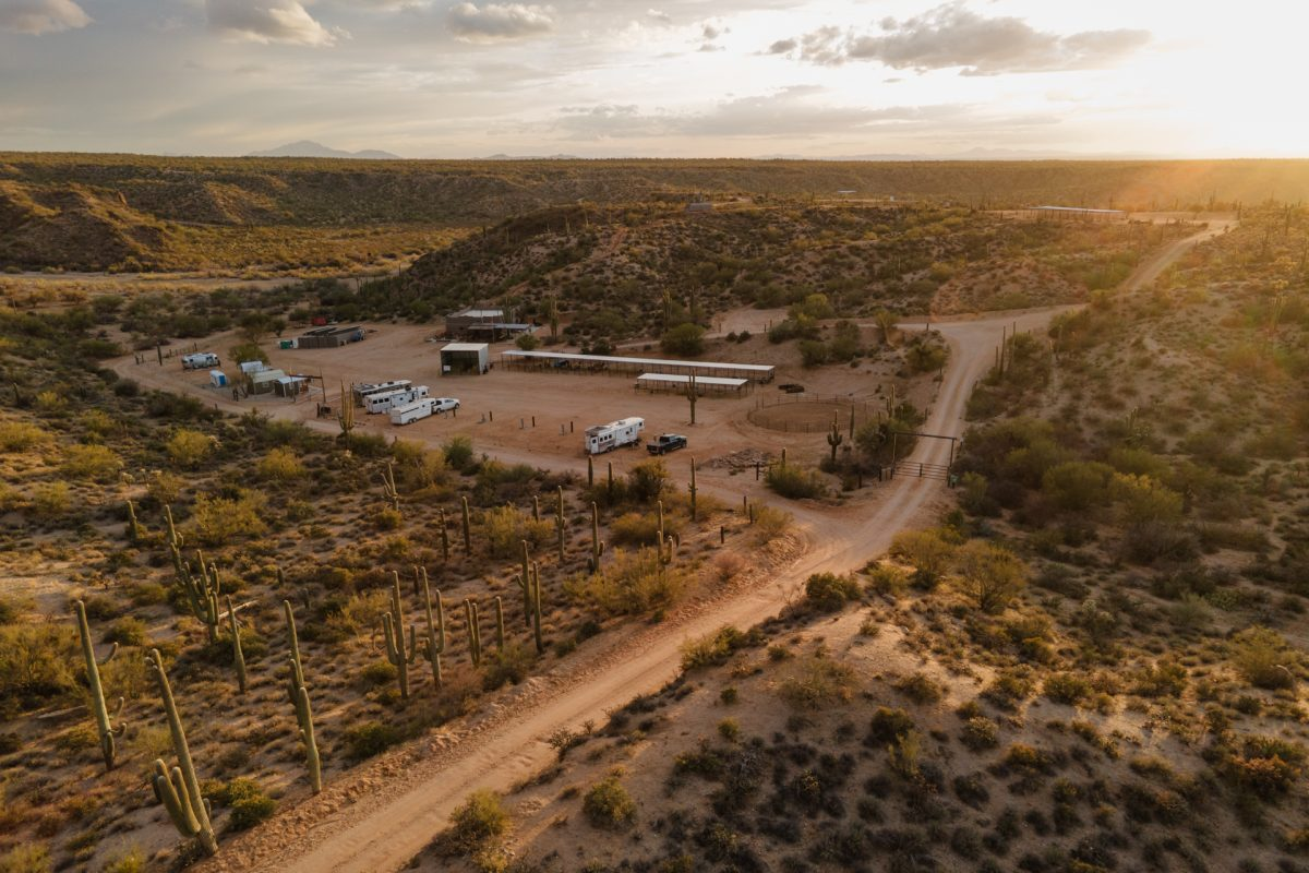 The sun setting at Ride Out Ranch in Florence, AZ.