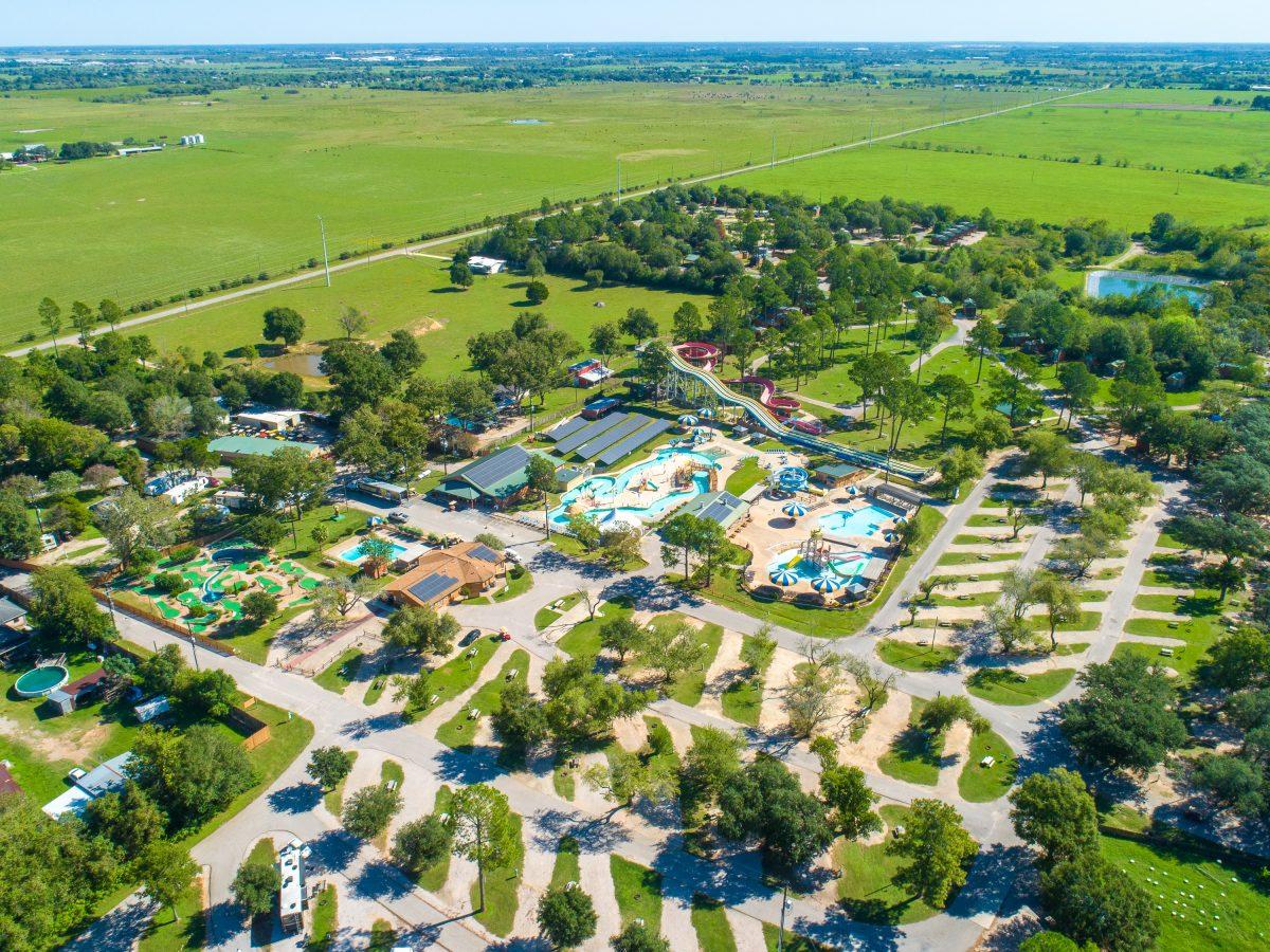 An aerial view of Yogi Bear's Jellystone Park™ Camp-Resort: Waller in Waller, Texas.
