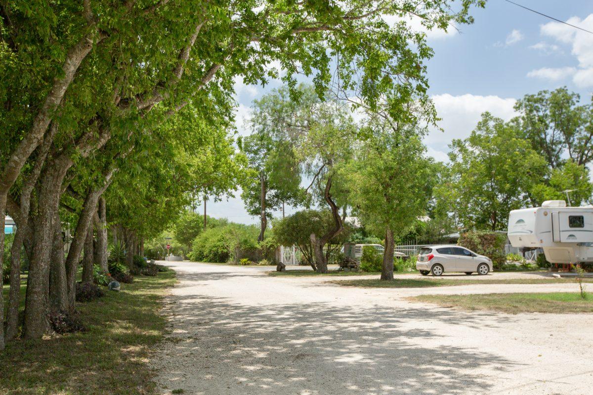 RV sites at Hidden Valley RV Park in Von Ormy, Texas.