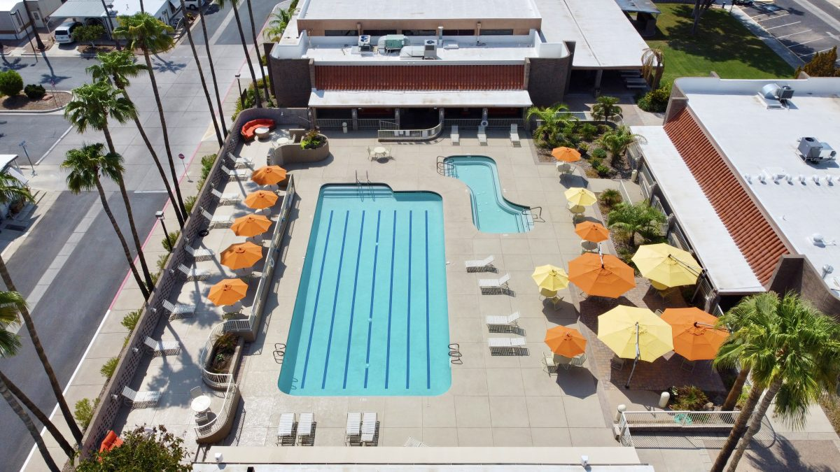 The pool area at Superstition Sunrise RV Resort (55+) in Apache Junction, AZ.