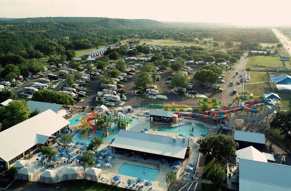 An aerial view of Yogi Bear's Jellystone Park™ Camp-Resort: Guadalupe River in Kerrville, Texas.
