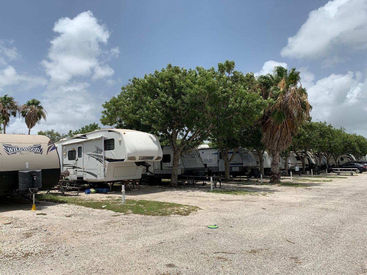 RV sites at Lighthouse Beach RV Park in Port Lavaca, Texas.